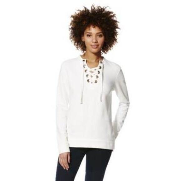 F&F Tops - F&F Lace-Up Front Sweatshirt
